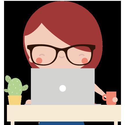 Character di una ragazza con i capelli rossi e gli occhiali seduta alla scrivania a lavorare.  Arianna Zuliani - Social Media Manager - Valvasone Arzene - Pordenone