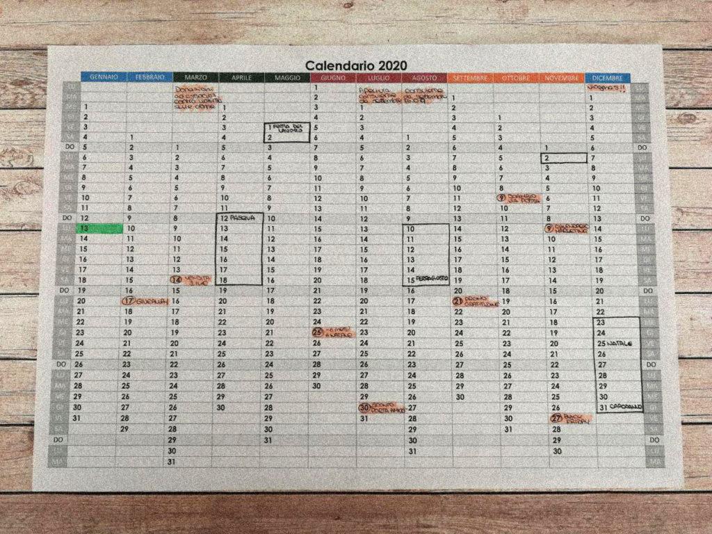 Calendario annuale formato A3 con spazi per scrivere note ed organizzare il lavoro.